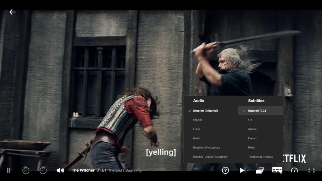 Netflix The Witcher edit with caption netflix overlay