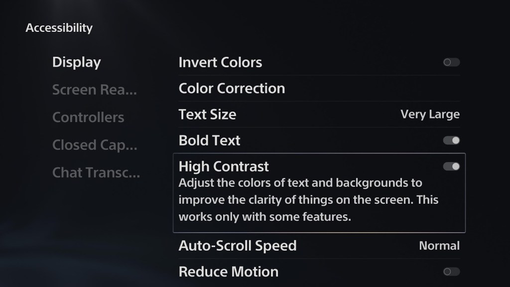 The Accessibility menu showing the largest text, in high contrast and bold on the PS5.