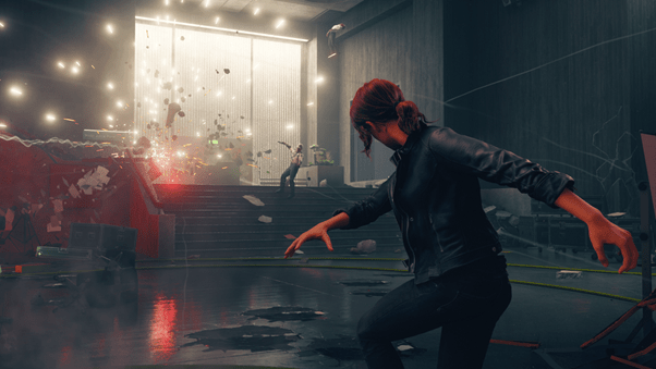 Screenshot of the game Control. Jesse is telekinetically throwing concrete at a mook.