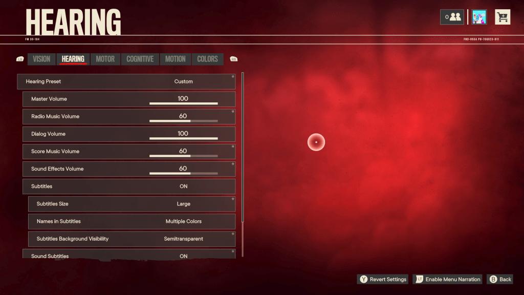 Far Cry 6 hearing preset menu