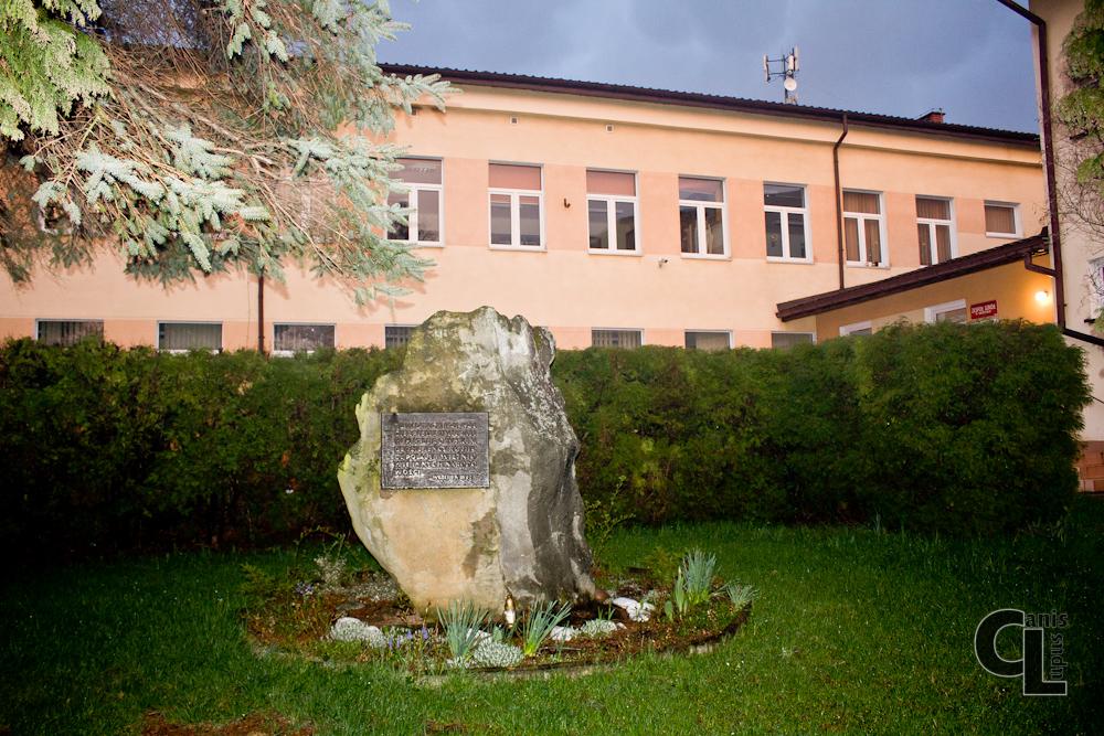 Pamiątkowy kamień ustawiony na placu przed szkołą w Szebniach