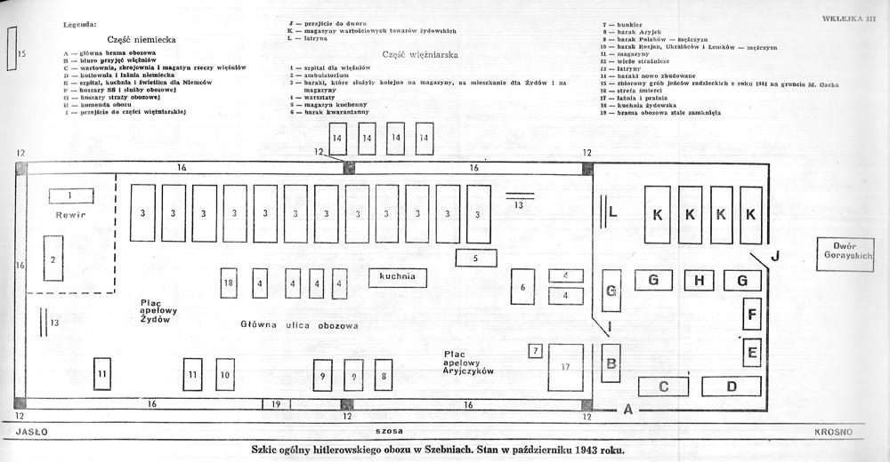 Plan obozu pracy w Szebniach - Szebnie Obóz pracy przymusowej
