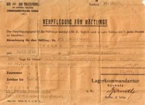 Pokwitowanie zapłaty za pobyt w obozie pracy przymusowej w Szebniach w dniach od 26.05.1943 do 29.11.1943 r. w kwocie 449zł 31 gr.