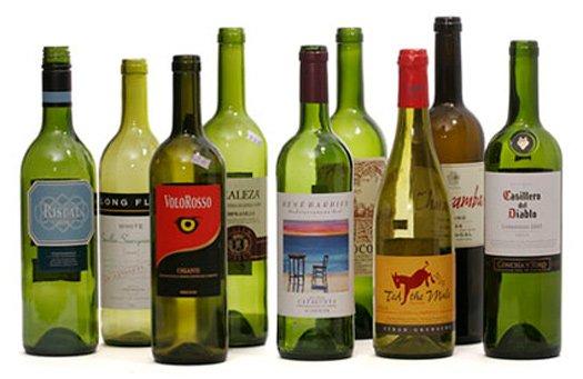 branded wine bottles