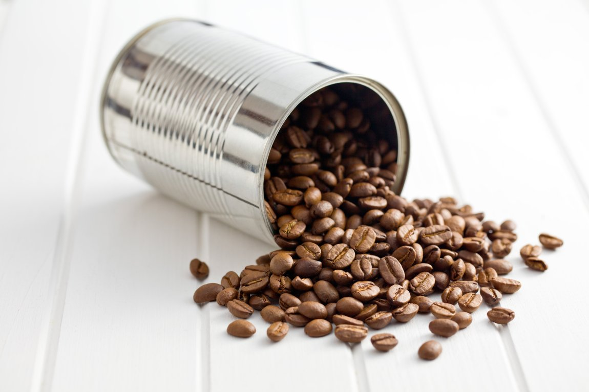 coffee beans in tin can