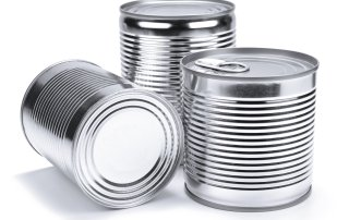 10269726 - three different unopened cans isolated on white.
