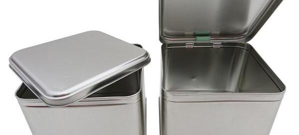Metal hinged tin