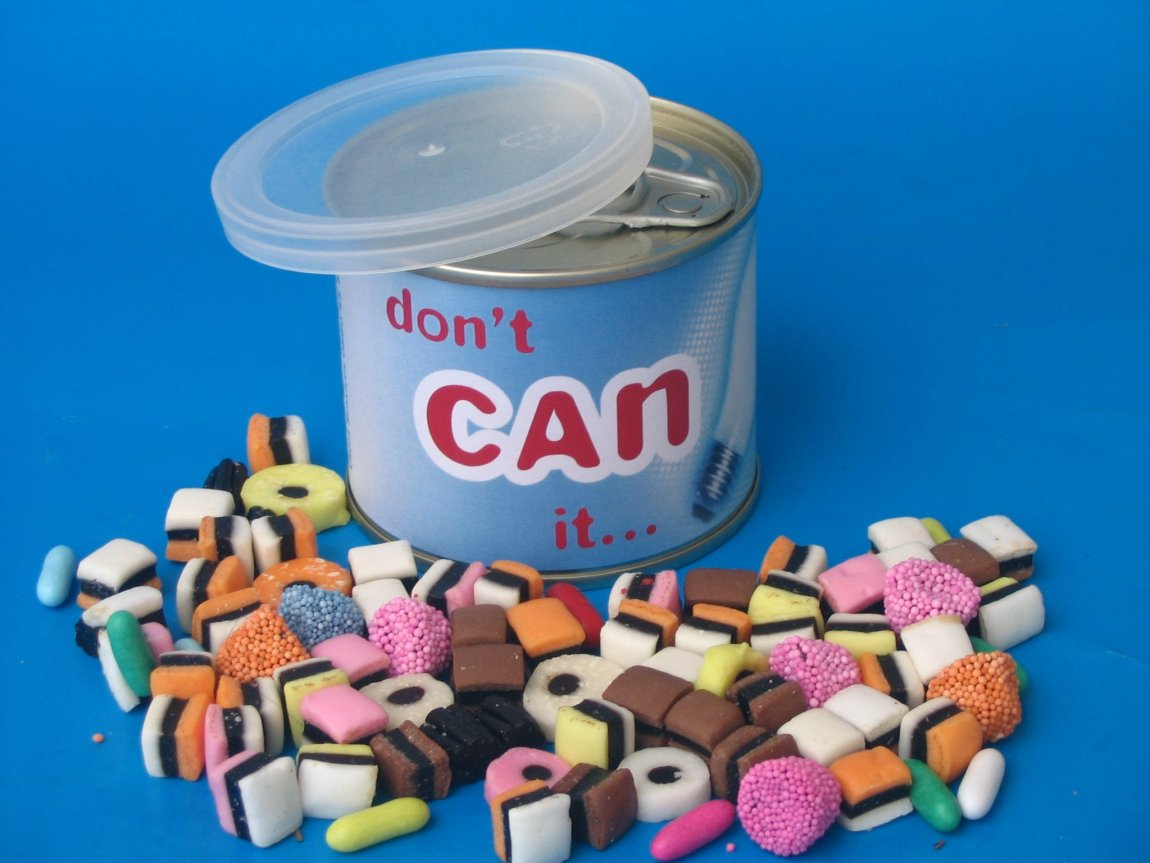 Sweets in a Tin Can, sealed custom branded