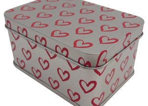 Rectangular Printed Heart Tins