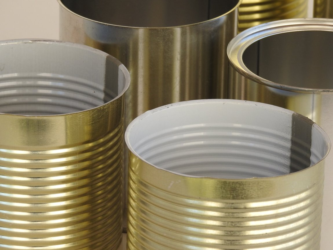 Closeup of Metal Food Tin Cans