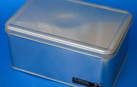 Large metal container with hinged metal lid