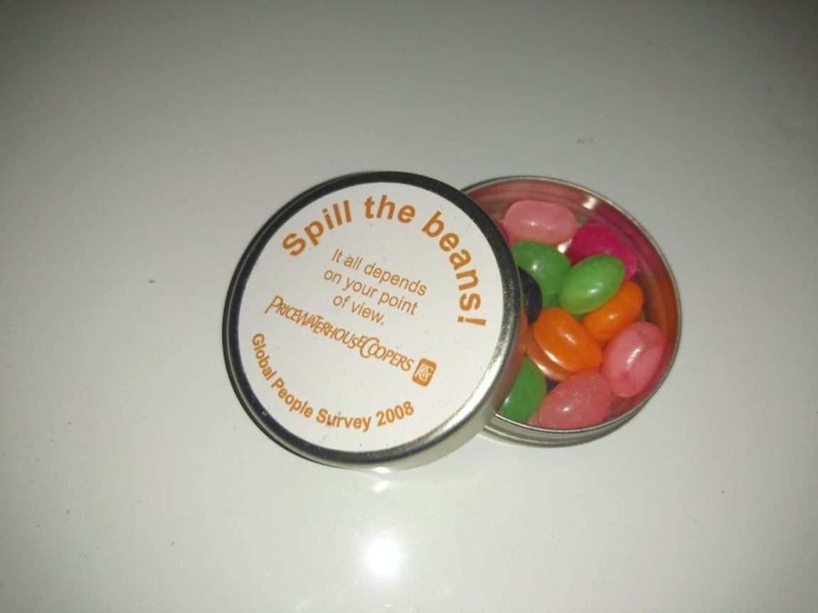 jelly beans in a tin