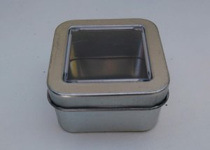 Can It's Plain Silver Square Window Tin (Mini)
