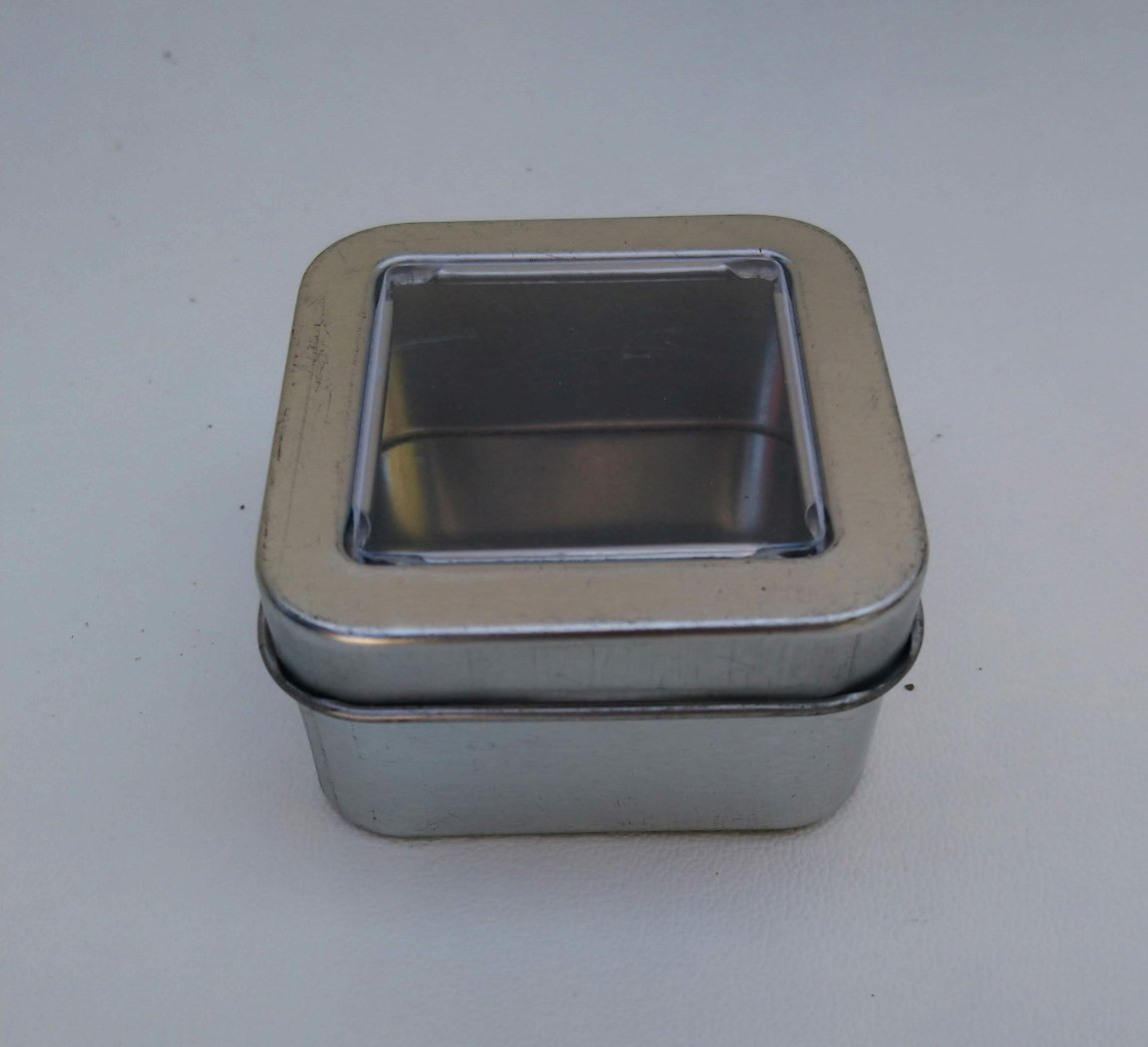 Can It's Plain Silver Square Window Tin (Mini)