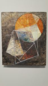 Meeting / Con Beatrice, encaustic and oil stick on panel by Susan Squires