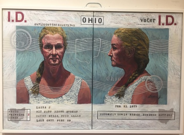 "Lawrence Krause, ""Mandatory Voter I.D.: Laura,"" acrylic on canvas."