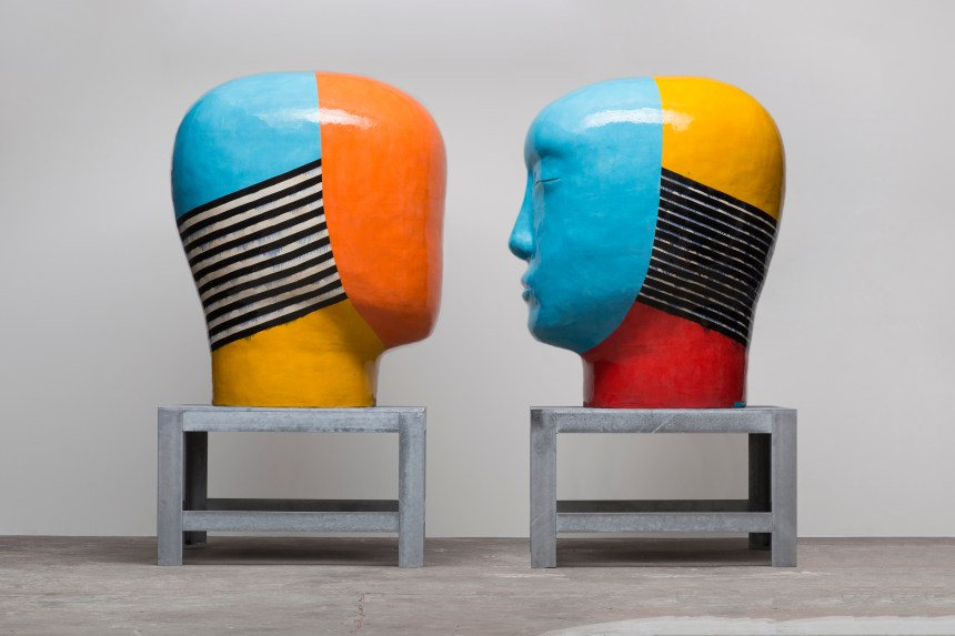 Jun Kaneko, Untitled, Heads, 2013, hand built & glazed ceramics, courtesy of the artist. Photography by Colin Conces.