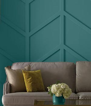 Dimensional wall feature painted with Beauti-Tone paint at Canmore Home Hardware.
