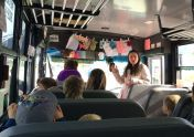 Ms Nataliya giving a talk on bus safety.
