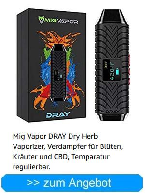 Mig Vapor DRAY Dry Herb Vaporizer, Verdampfer für Blüten, Kräuter und CBD, Temparatur regulierbar