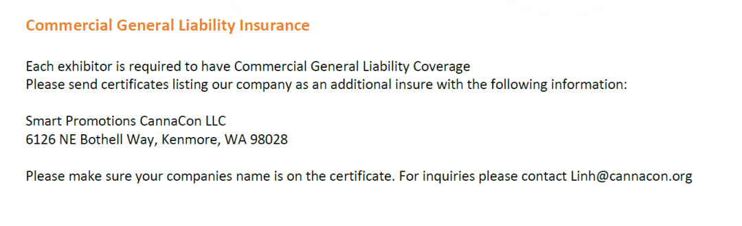 Cannabis Event Insurance Requirement