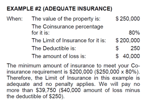 Example calculation of adequate insurance