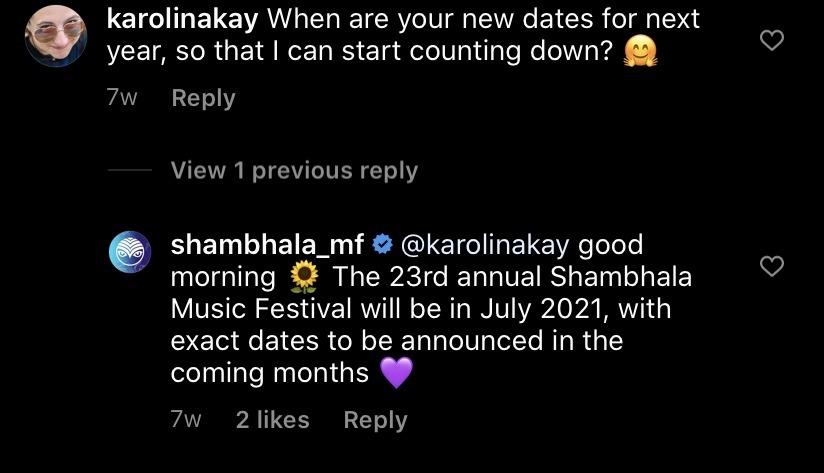 Excitement for the shambhala music festival