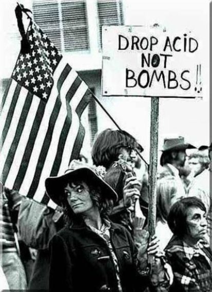 Hippies protesting at Woodstock festival