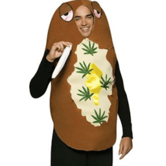A baked couch potato costume