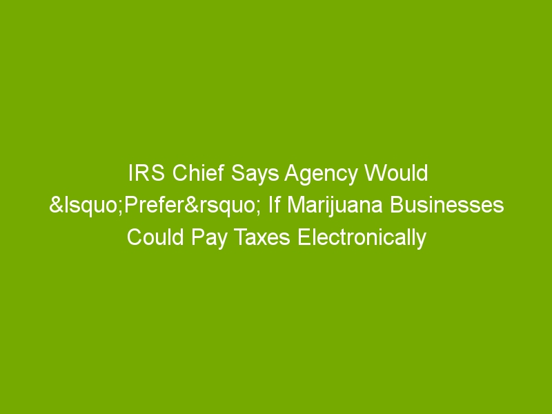 IRS Chief Says Agency Would 'Prefer' If Marijuana Businesses Could Pay Taxes Electronically