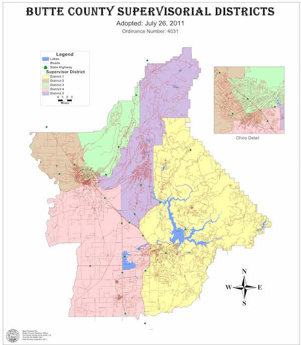 Board of Supervisors District Map of Butte County