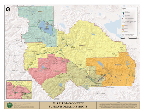Board of Supervisors District Map of Plumas County