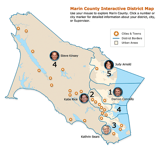 Board of Supervisors District Map of Marin County