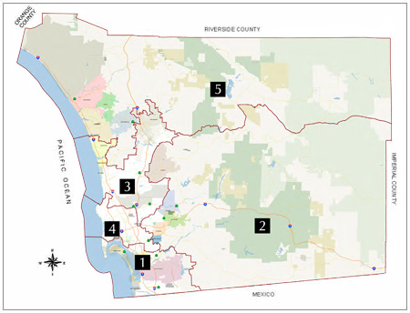 Board of Supervisors District Map of San Diego County
