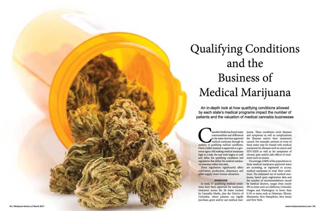 Qualifying Conditions and the Business of Medical Marijuana, Marijuana Venture magazine
