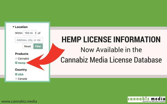 Hemp License Information Now Available in the Cannabiz Media