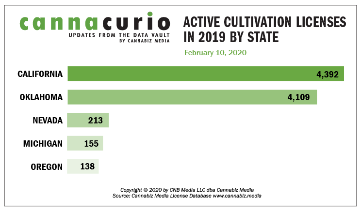Cannacurio: Active Cultivation Licenses In 2019 By State