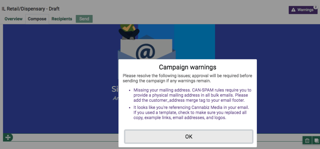 Cannabiz Media License Database V6 Campaign Warnings