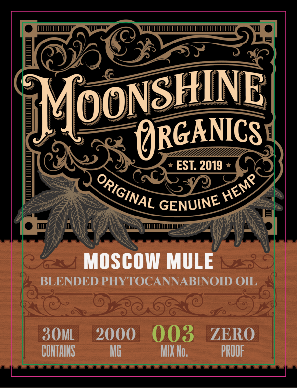 Moonshine Organics Craft Cocktail Collection Moscow Mule Label
