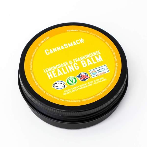 CannaSmack lemon and frankincense vegan hemp healing balm - cruelty-free, made in the usa, plastic negative certified