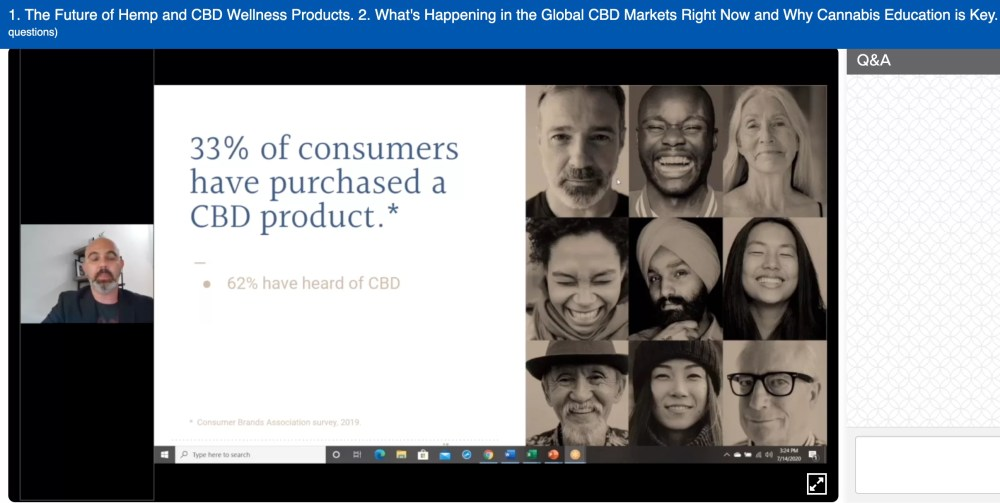 Screenshot of a lecture on CBD products