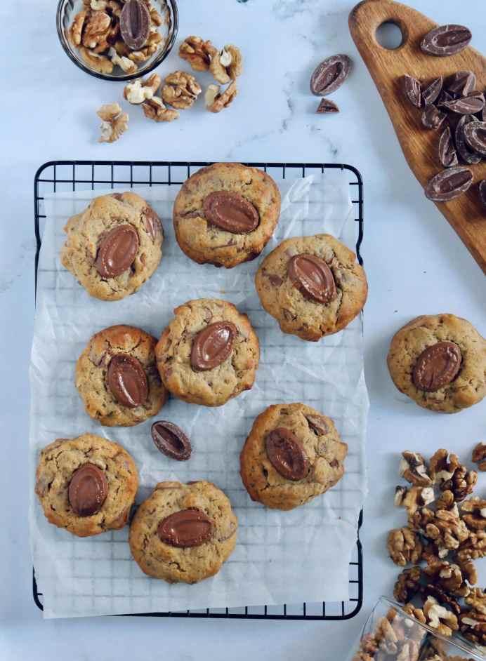 Cookies noix et chocolat au lait - vue d'en haut