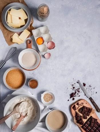 Ingrédients cookies tahin et chocolat