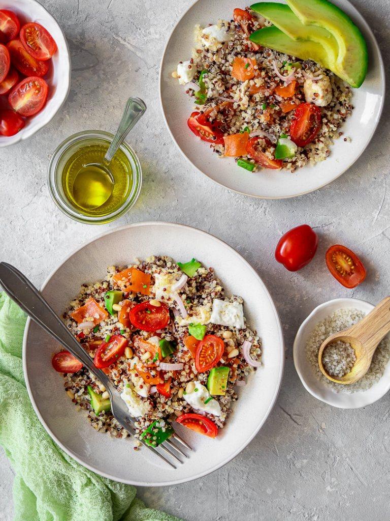 salade avocat quinoa truite fumee