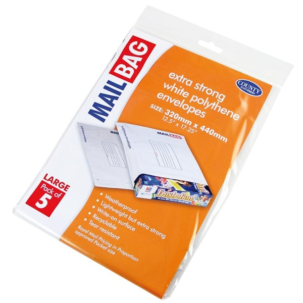 Polythene mail bags 5pk large 320mm x 440mm
