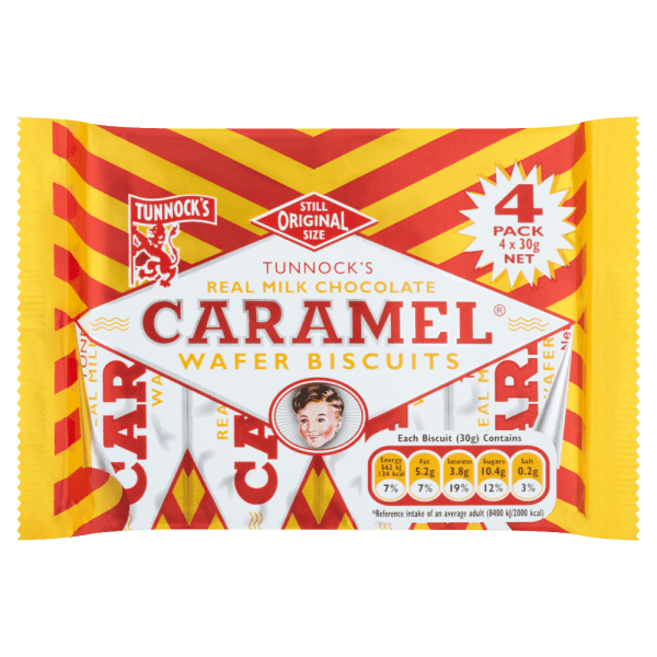 Tunnocks Real Milk Chocolate Caramel Wafer Biscuits 4 x 30g