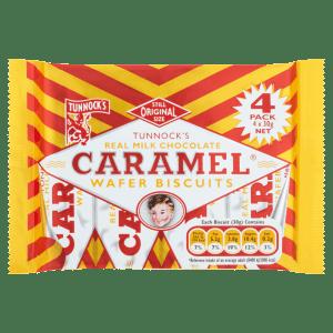 Tunnocks Real Milk Chocolate Caramel Wafer Biscuits 4 x 30g