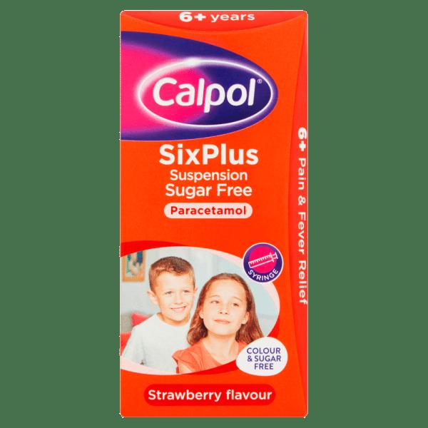 Calpol® SixPlus Suspension Sugar Free Strawberry Flavour 6+ Years 80ml