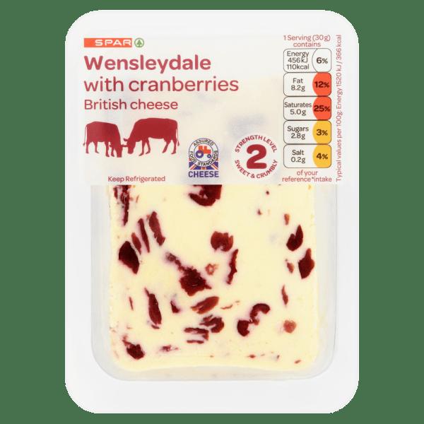 Spar Wensleydale with Cranberries British Cheese 200g