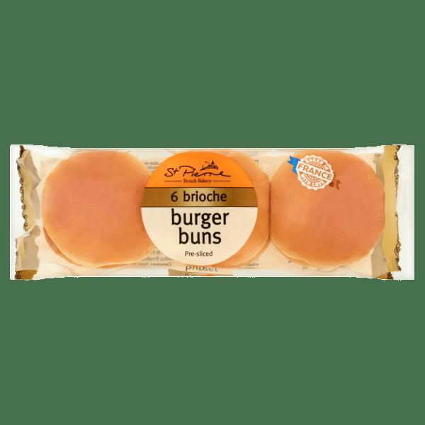 St Pierre 6 Brioche Burger Buns Pre-sliced
